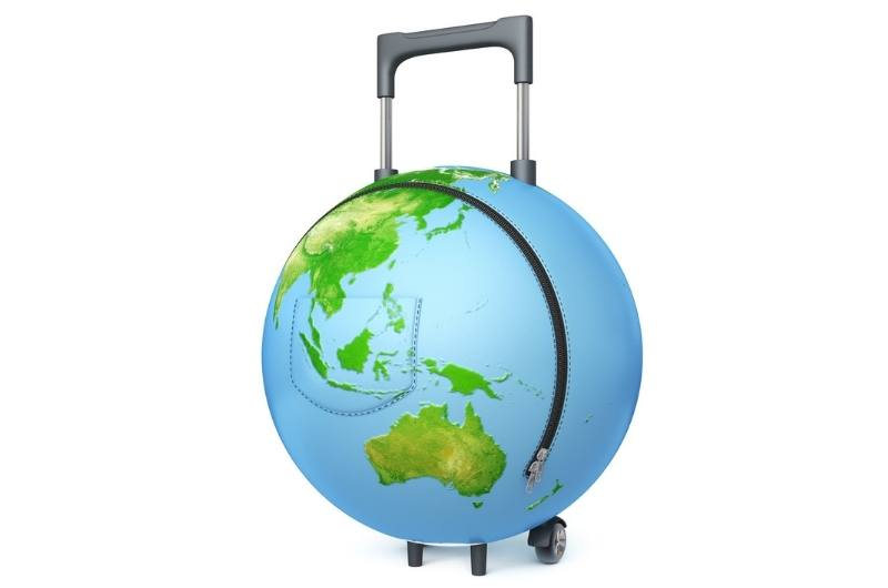 the globe as a luggage