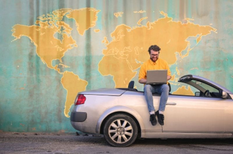 working remotely, exploring the world, convertible car