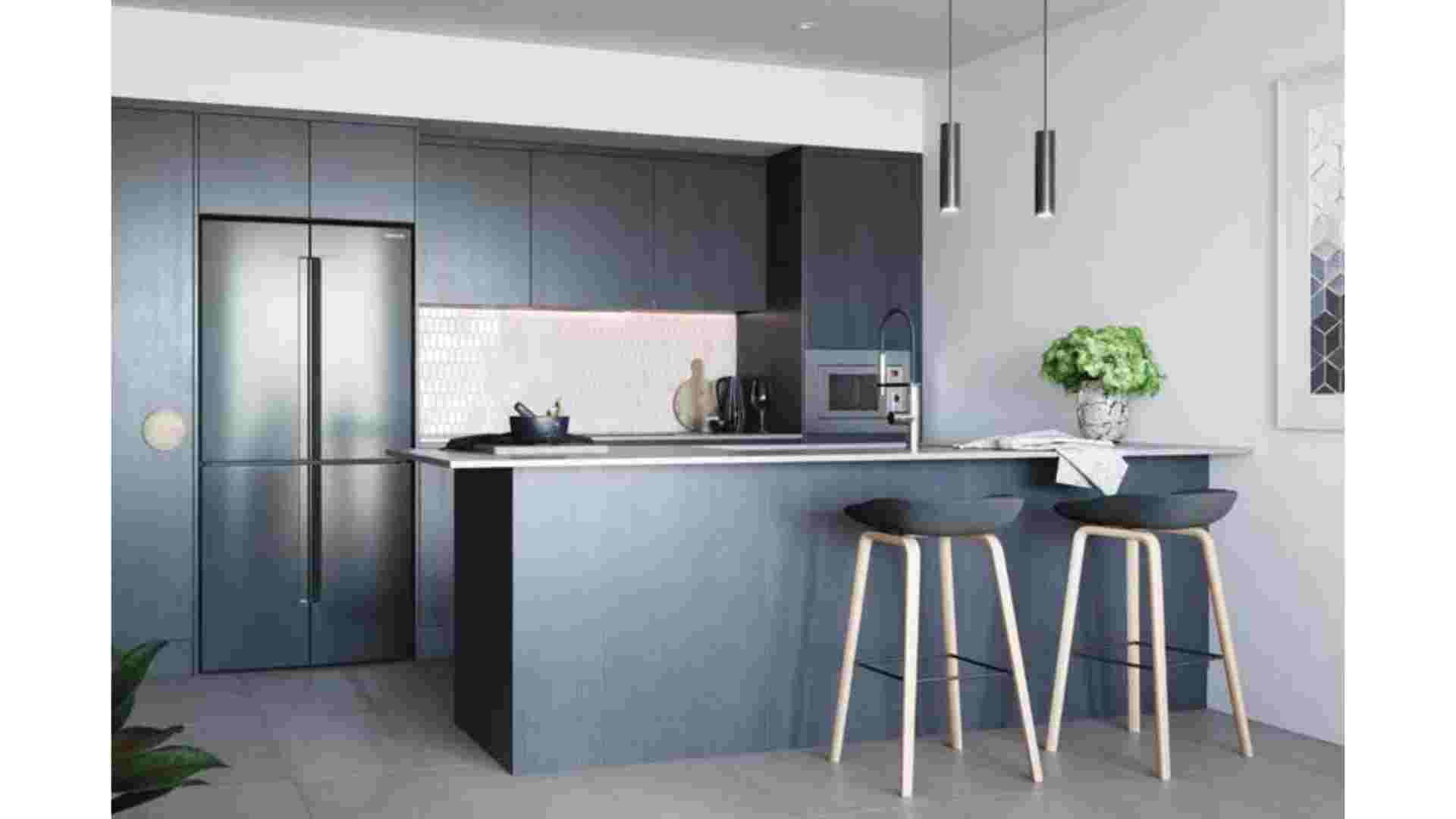 dark kitchen cabinet on white wall