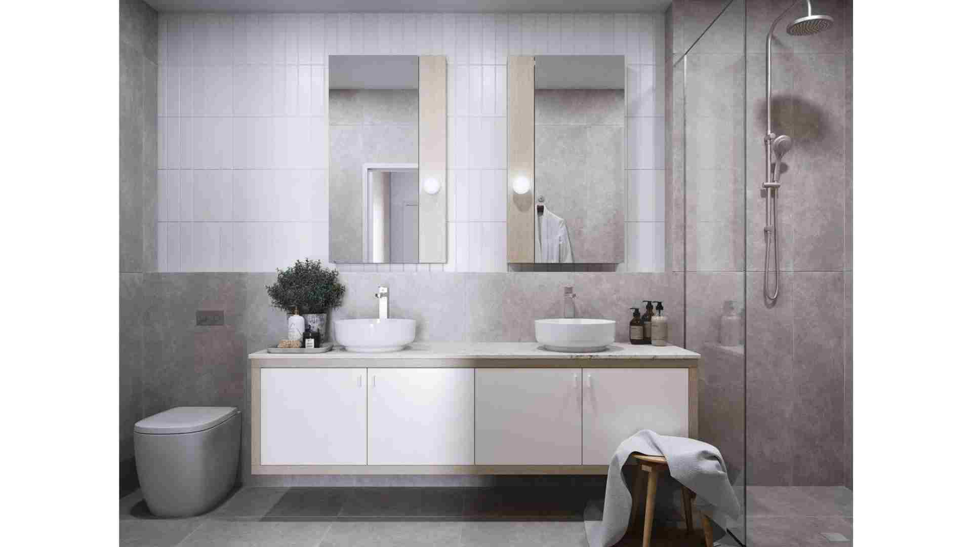 beige marble shower, white tiles, white cabinets with wooden trimmings
