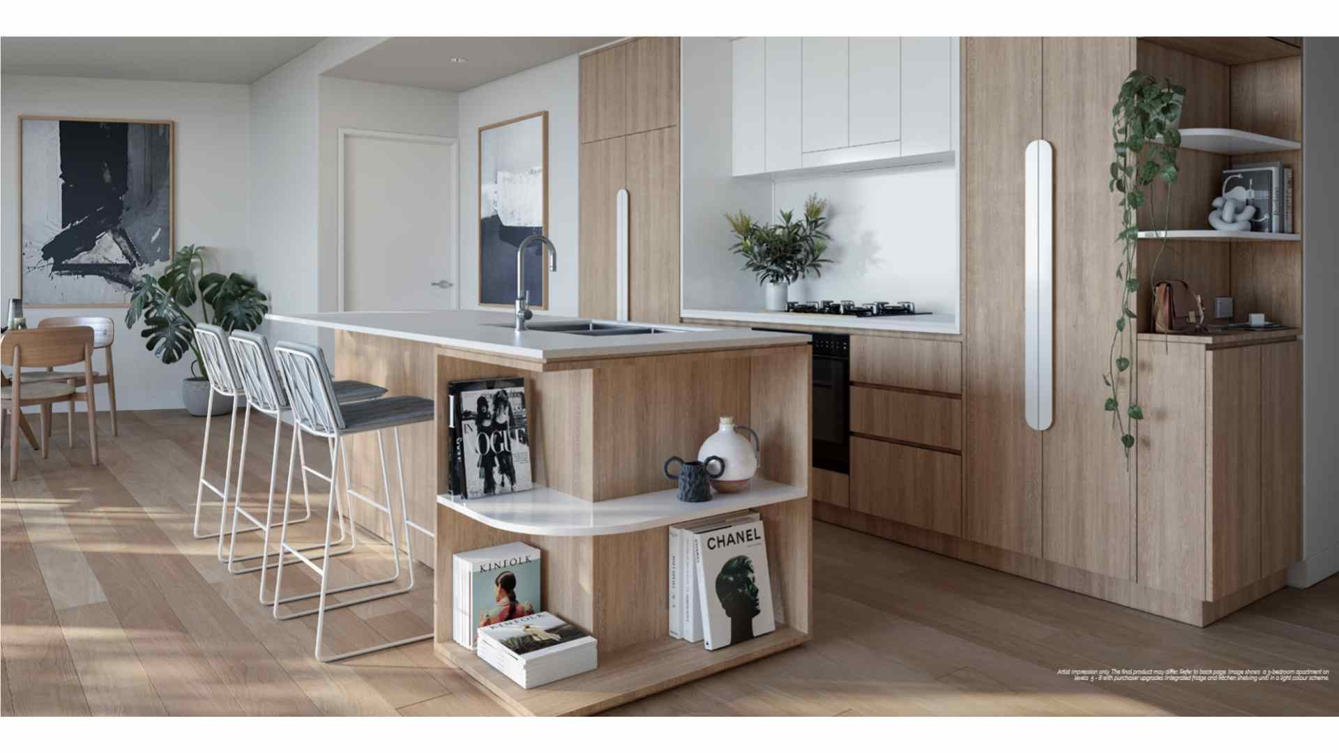 white and beige kitchen, white countertop