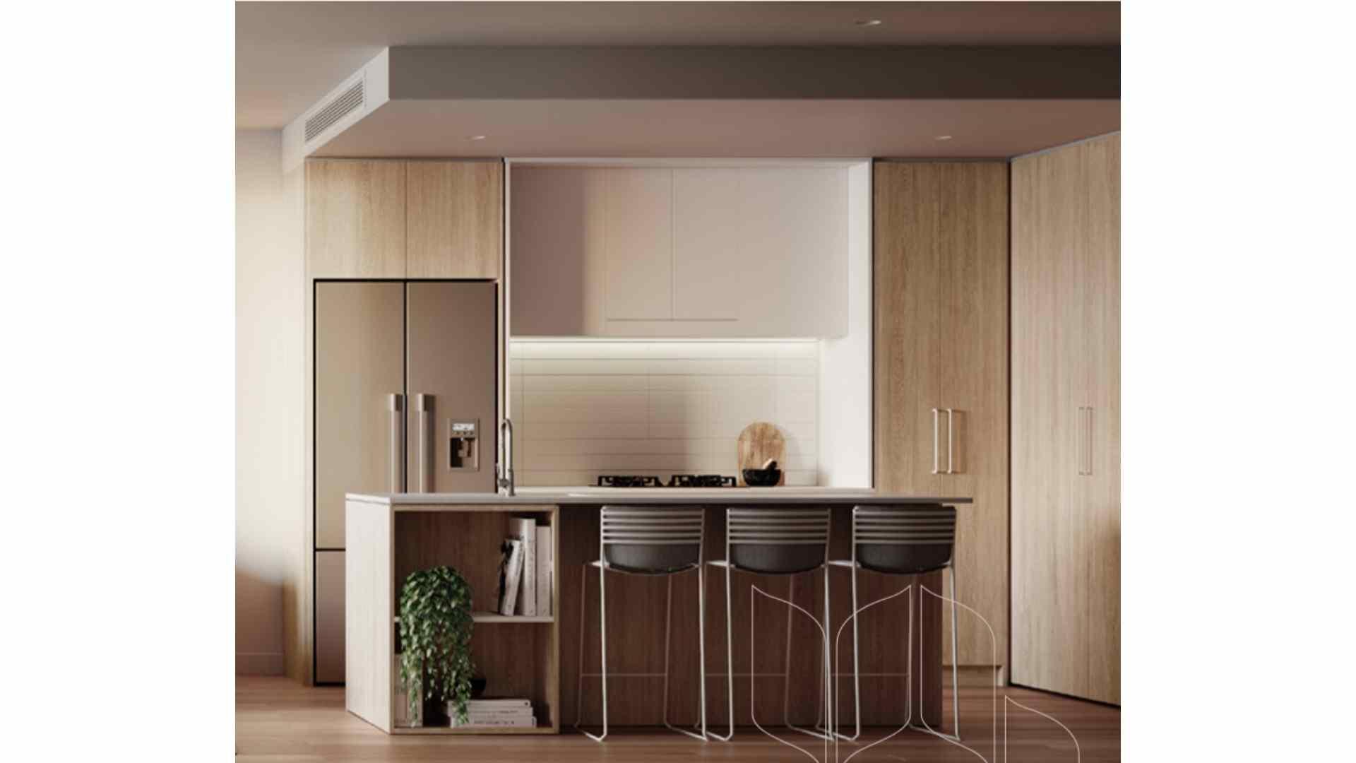 beige and white kitchen, 3 bar stool