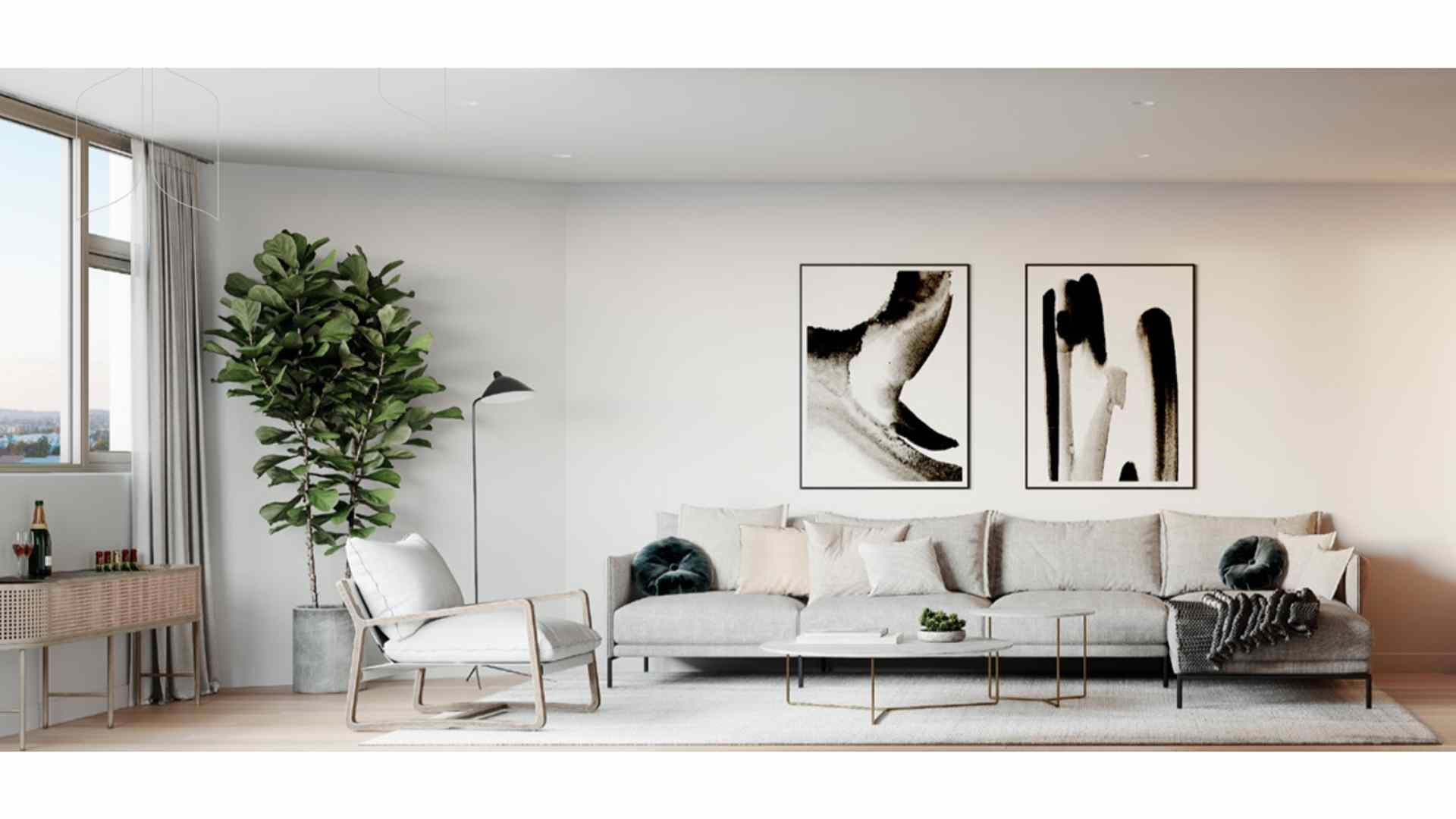 white themed living room, large plant at the corner