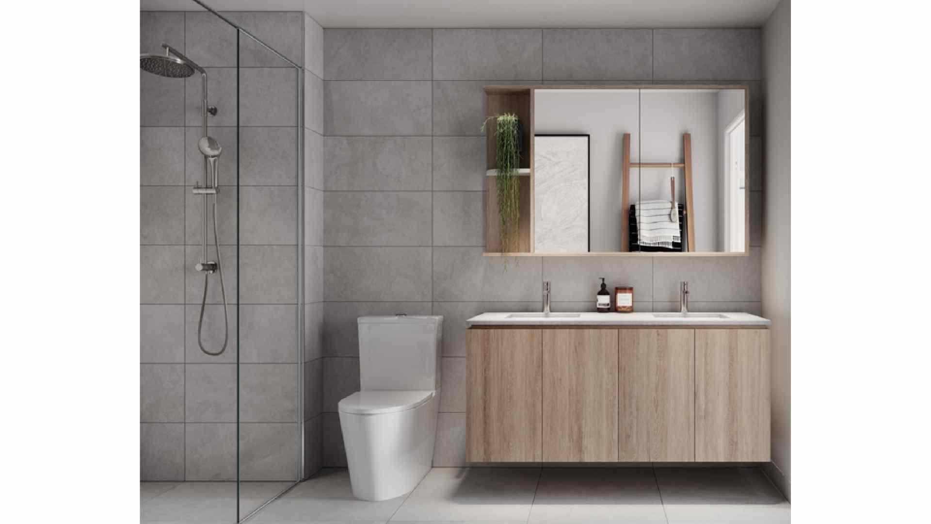 grey bathroom with wooden cabinet