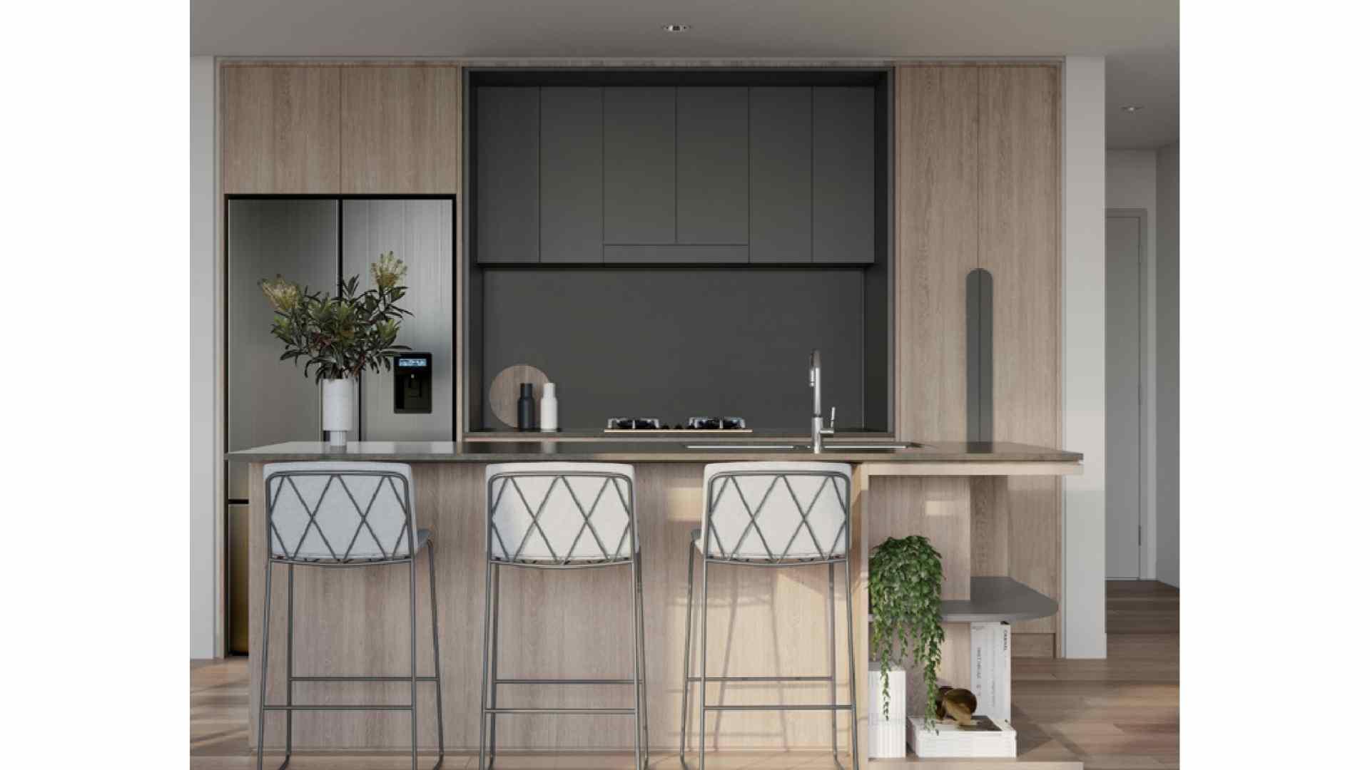 light wood and grey kitchen, 3 bar stools