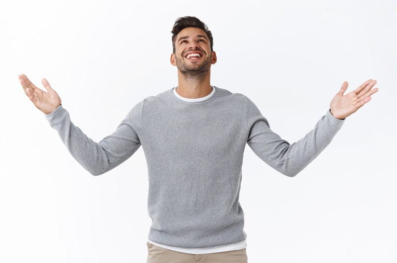 grateful man, hallelujah, handsome male in grey sweater