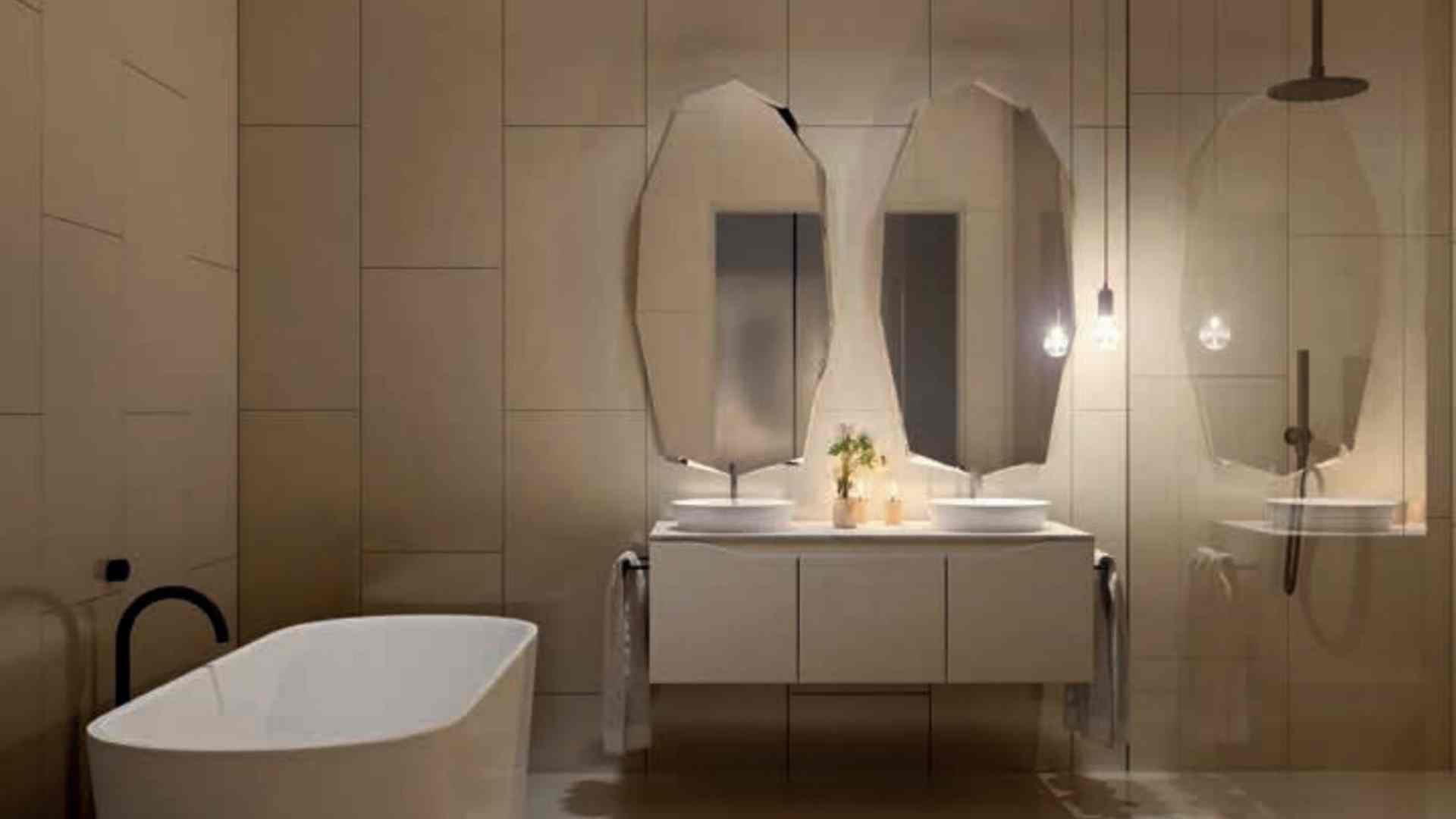 white tub with black faucet, beige tile bathroom