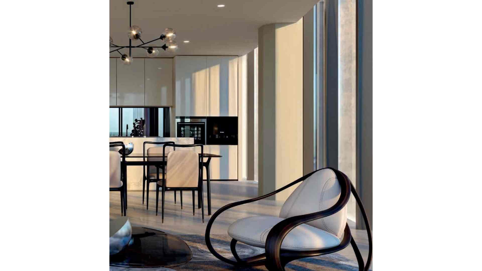 cream apartment interior with black and cream furniture
