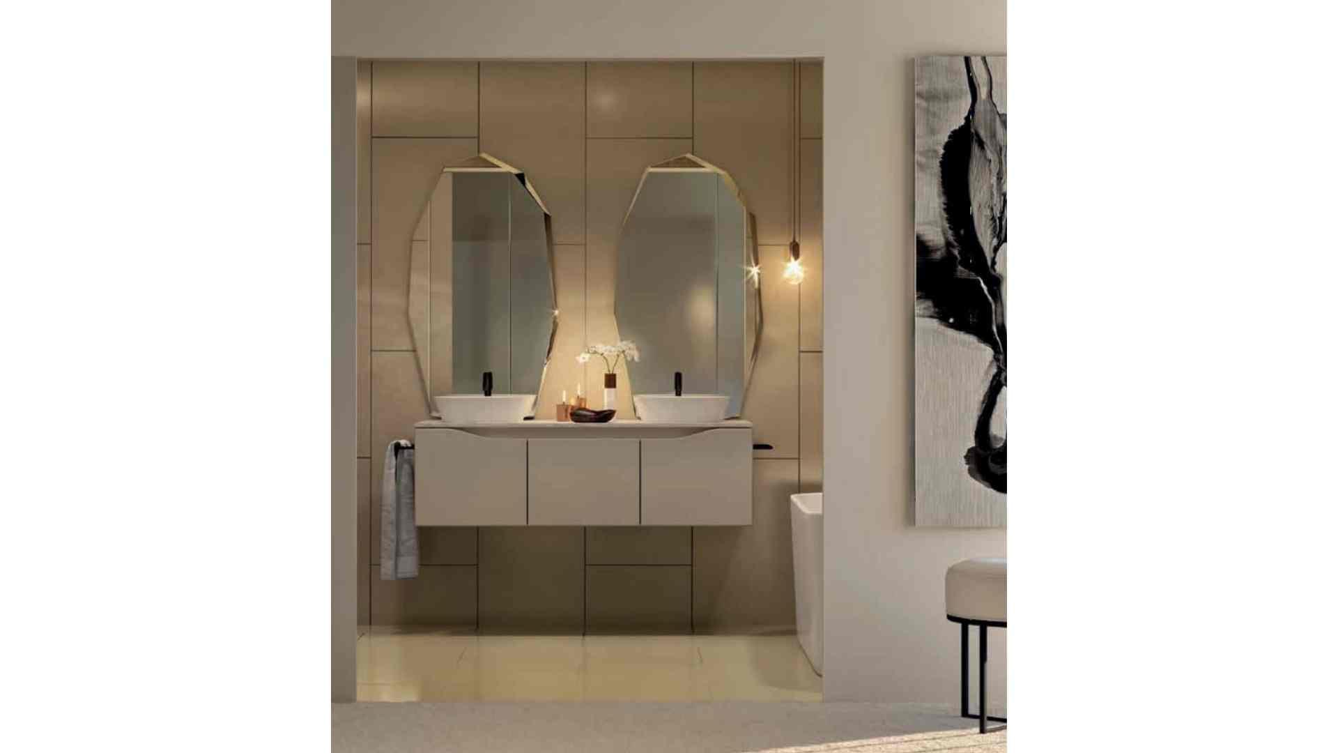 white and beige bathroom, black tap