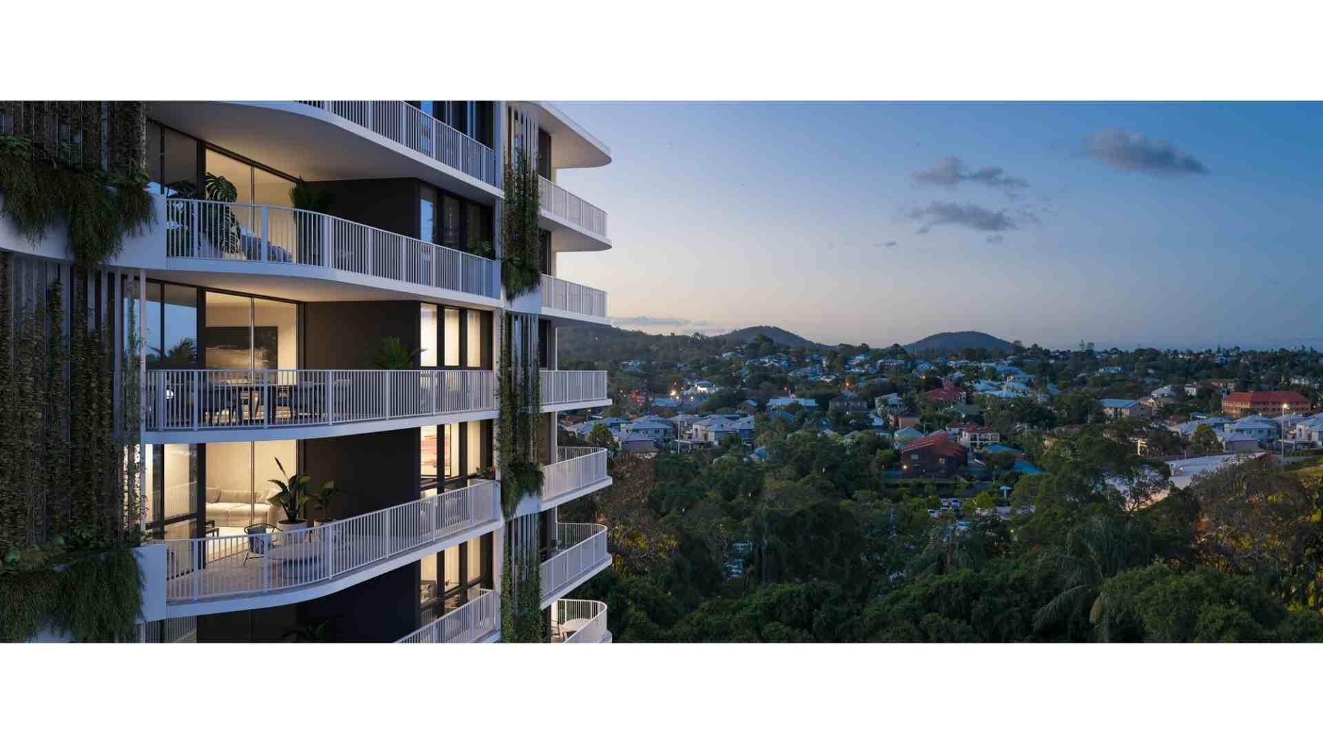 balcony overlooking inner city of brisbane