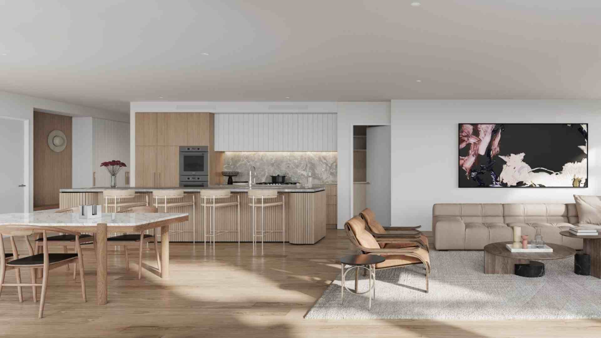 open kitchen, dining area, living room, beige and white interior