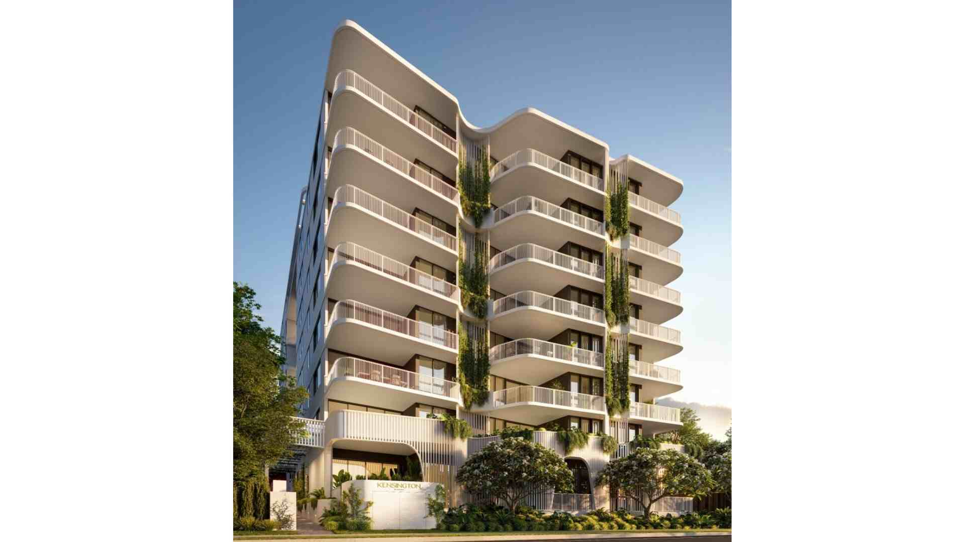 Kensington QLD residential apartment, white building with plant on the side
