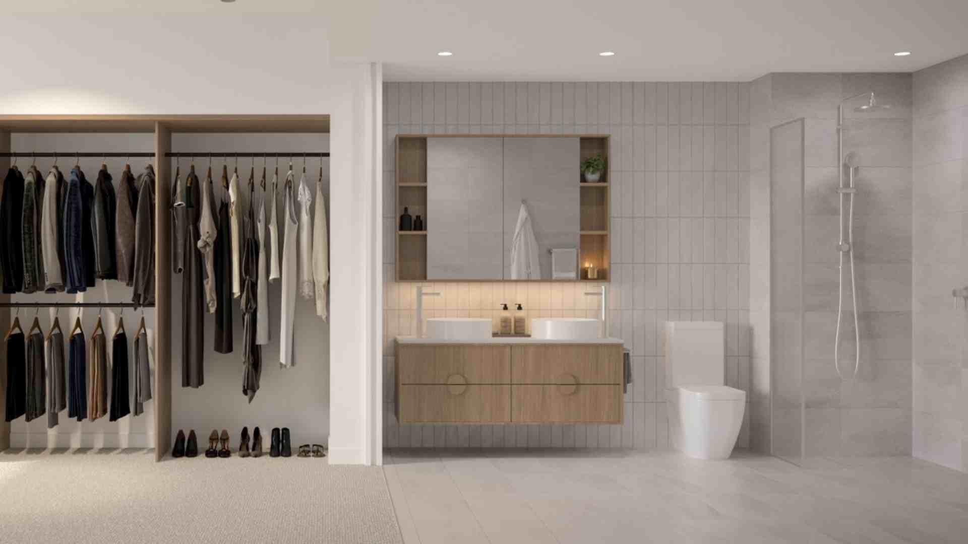 built in wardrobe next to bathroom, ash grey marble shower