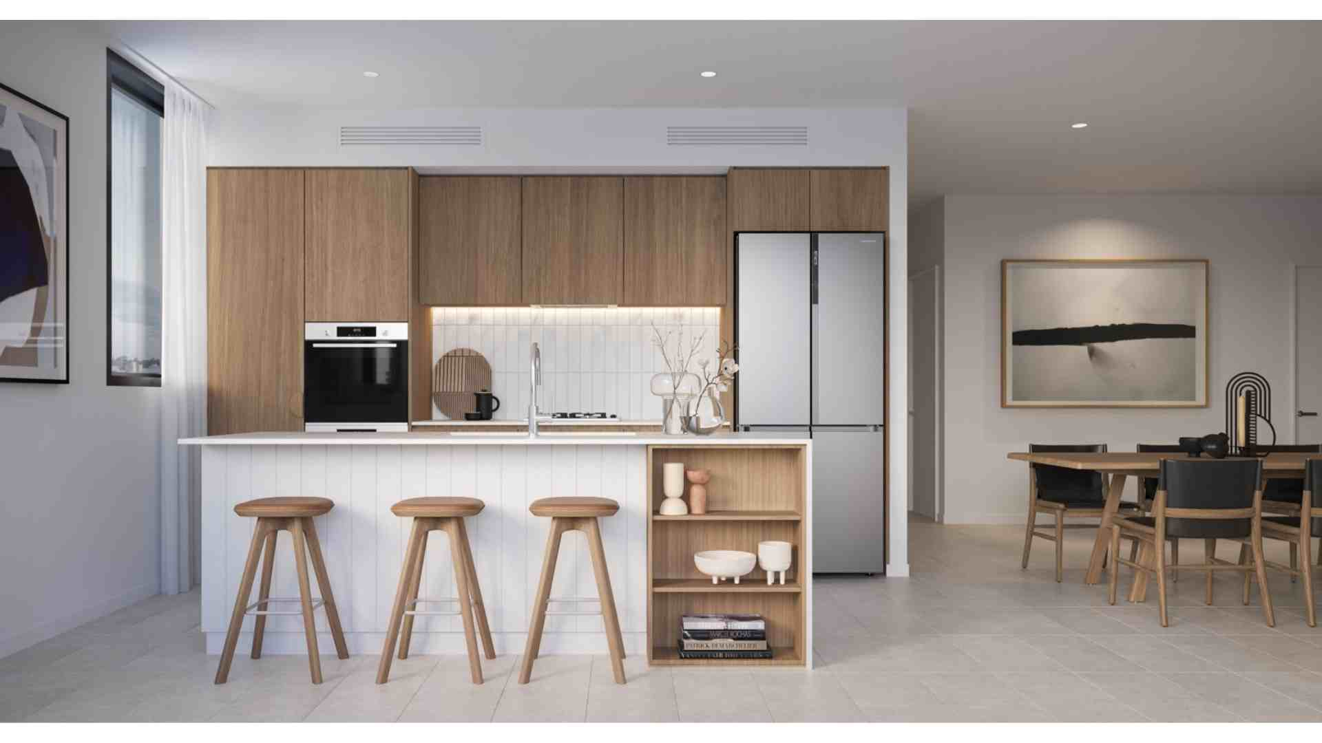 wooden cabinet kitchen, white table top, wooden stool