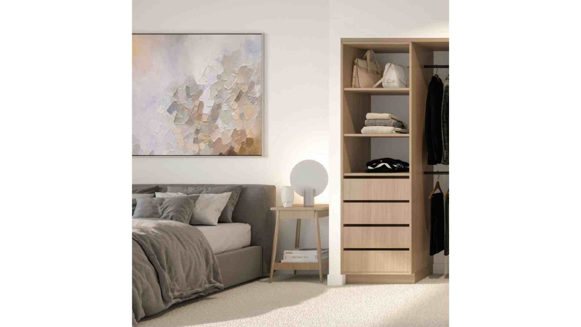 master bedroom with wooden wardrobe