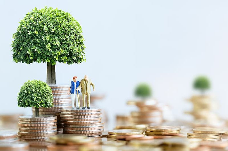 elderly couple standing on a stack of coin