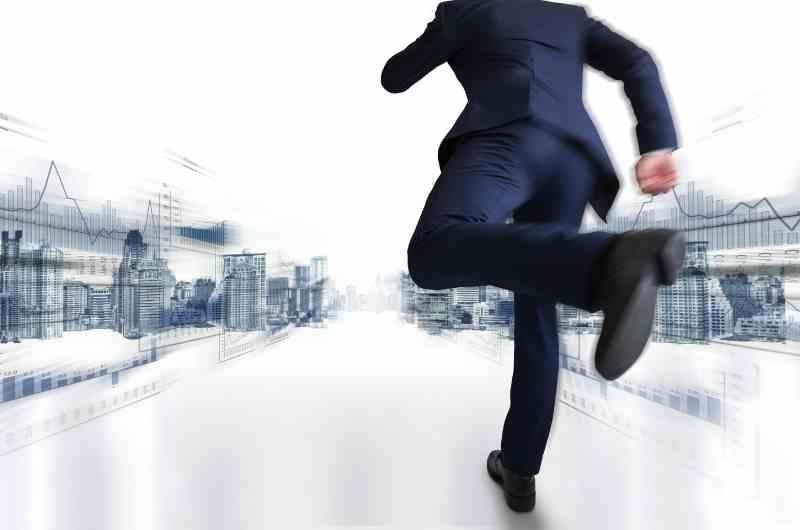 man running through the city