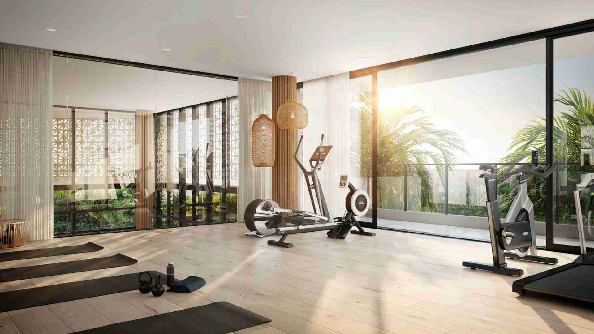 gym studio with floor to ceiling glass windows