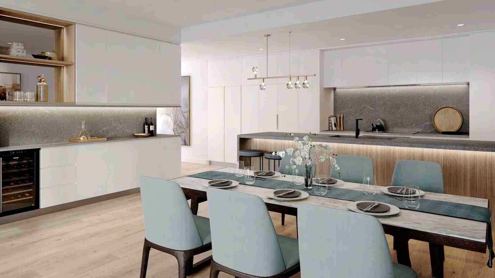 tiffany blue dining chairs, grey marble kitchen table