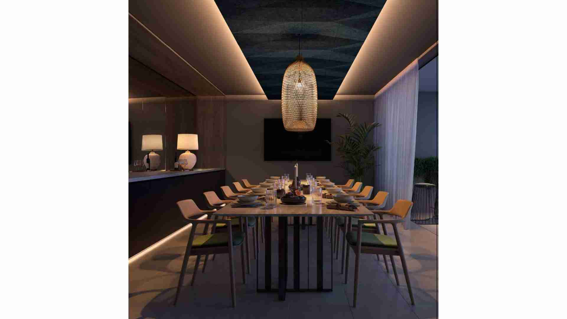 long rectangle dining table with 10 chairs, mirrored wall