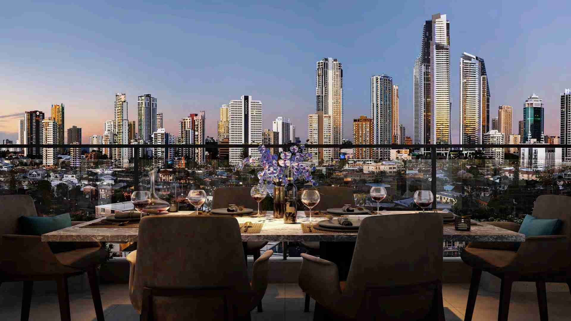 dining party at home overlooking gold coast skyline