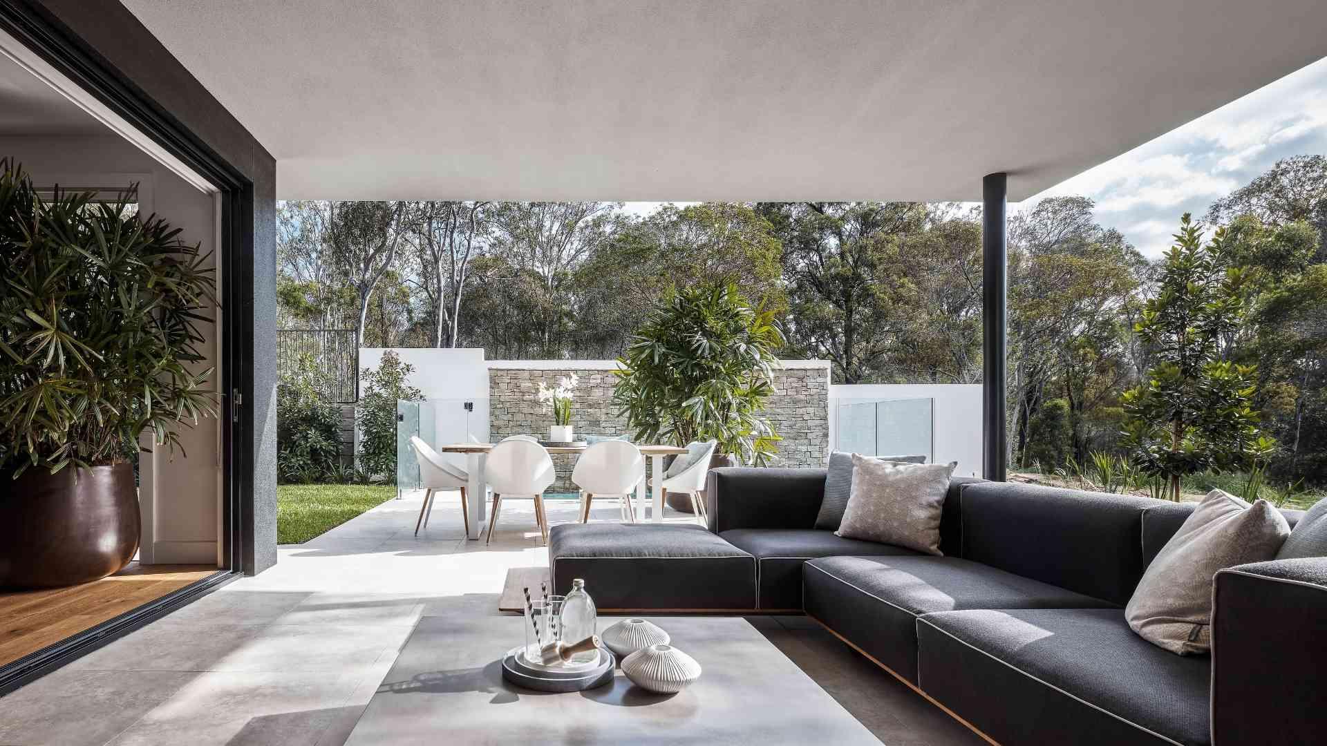 L-shaped lounge at the backyard